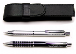 Ball Point Pen with Faux Leather Pouch - Choice of Silver & Black